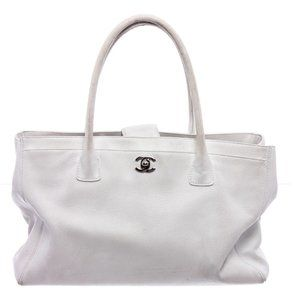 Chanel White Calfskin Leather Cerf Tote Bag